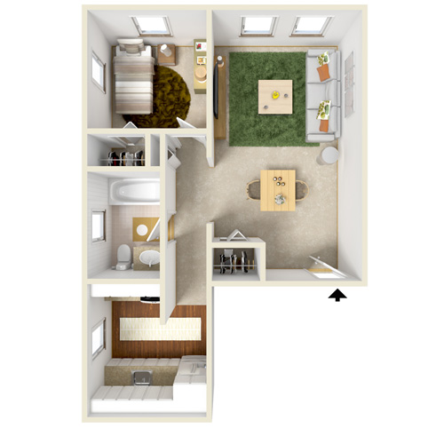 highland bay one bedroom option-2 floor plan